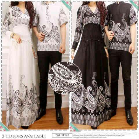 Baju Gamis Couple Sakura Cp909 Busana Muslim Pesta Batik