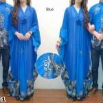cp923 Batik Couple Safira Biru sifon berfuring kombinasi batik prada
