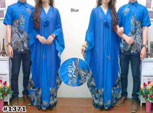 Batik couple safira birel cp923 baju muslim kaftan jumbo Baju couple gamis denim