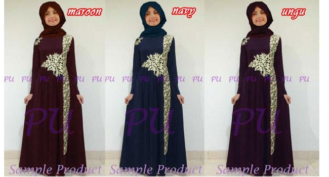 Baju Gamis Pesta Bordir Marian P905 Busana Muslim Mewah