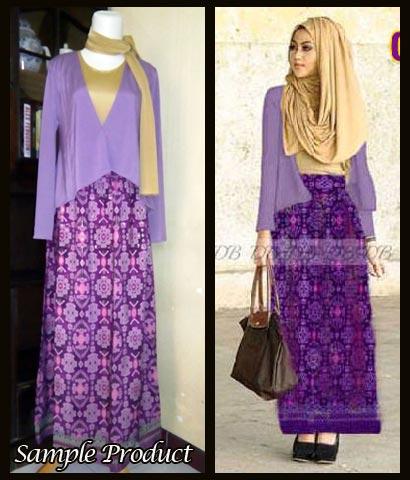 G885 gamis modern batik ungu