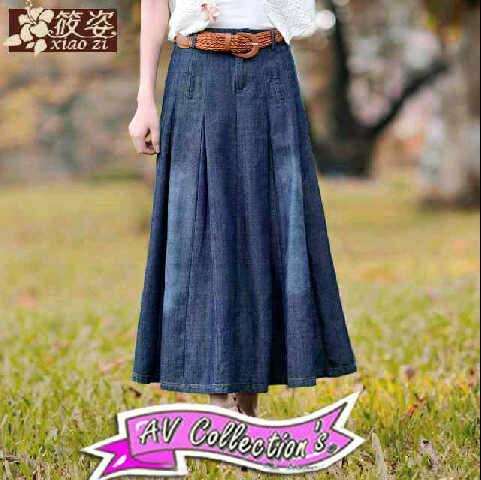V1010 Mango jeans skirt-2 rok jeans bawah lebar