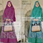 Y1001 baju gamis syari batik SALWA set bergo