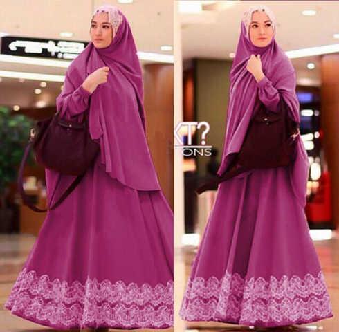 Baju Gamis Syari Renda Brokat Jermiah Lv Y1027 Model Terbaru