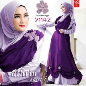 Y1142 gamis modern athrin ungu