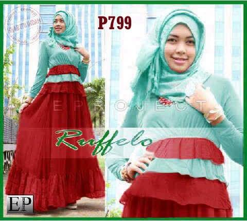 Baju Gamis Pesta Ruffelo P799 Model Baju Muslim Pesta Remaja