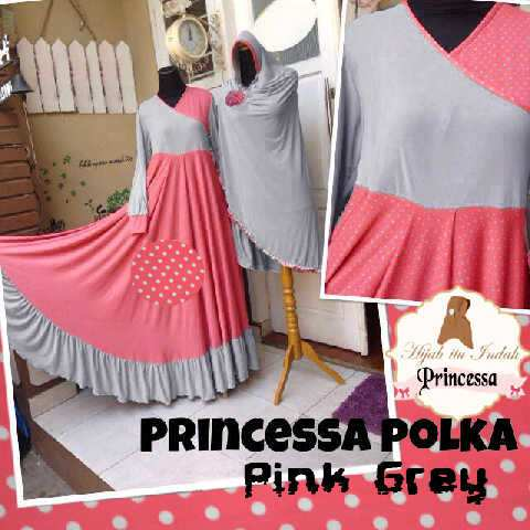 Baju Gamis Princessa Polka Y1047 Xl Set Bergo Syari Terbaru