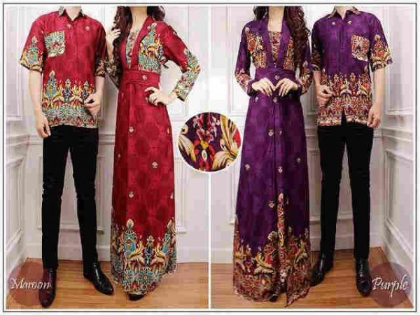 cp1039 batik couple VENUS bhn katun rayon (maroon, ungu)