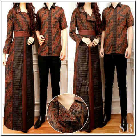 Baju Batik Couple Anggun Cp1040 Busana Gamis Batik Modern