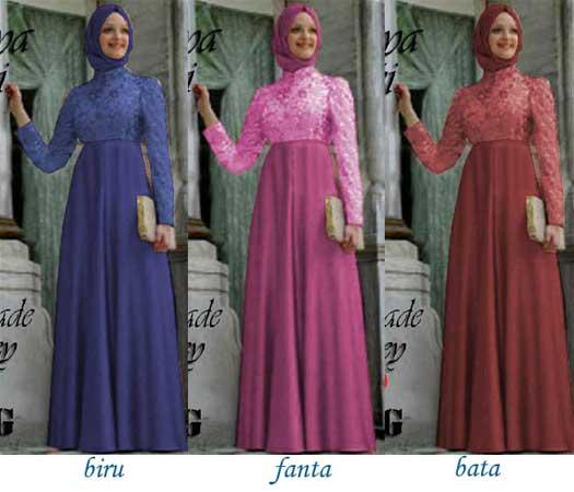 Baju Gamis Pesta Brokat Nesya P705 Busana Muslim Pesta Murah
