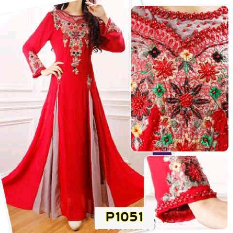 P1051 Gaun Pesta Bordir Nadia Merah