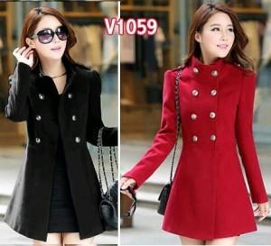 V1059 blazer wanita vimela hitam - merah