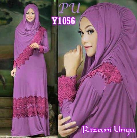 Y1056 gamis bergo Rizani ungu