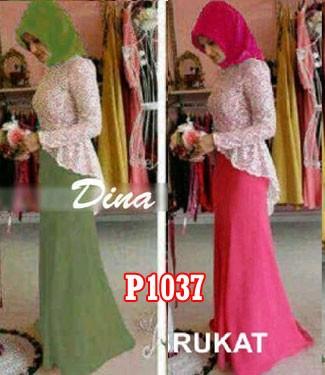 Gamis Pesta Dina Brokat P1037 Model Baju Muslim Modern Butik Jingga