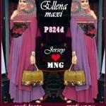 p824d Gamis modern Ellena Pink Kombinasi Ungu