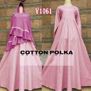 y1061 gamis bergo katun polka pink