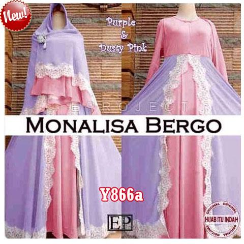 y866a gamis monalisa bergo pink ungu