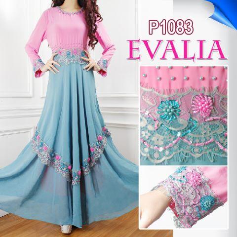 Gaun Pesta Evalia Sifon P1083 Baju Gamis Untuk Lebaran