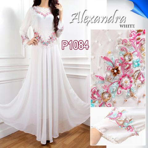 Gaun Pesta Alexandra P1084 White Model Baju Gamis Modern