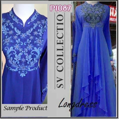 P1087 gaun pesta cassandra long dress biru
