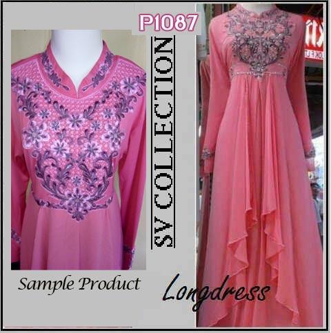 P1087 gaun pesta cassandra long dress pink