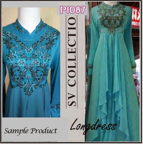 P1087 gaun pesta cassandra long dress tosca