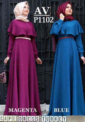 P1102 gamis pesta cape turkey