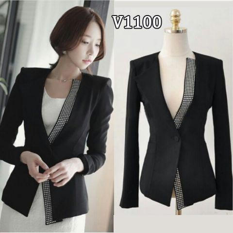 V1100 blazer wanita kerja hitam