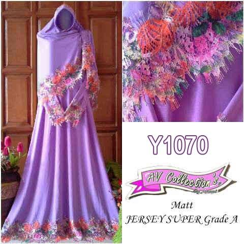 Gamis Bergo Rainbow Fariza Premium Y1070 Soft Purple