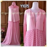Y1075 gamis bergo tutu polka pink