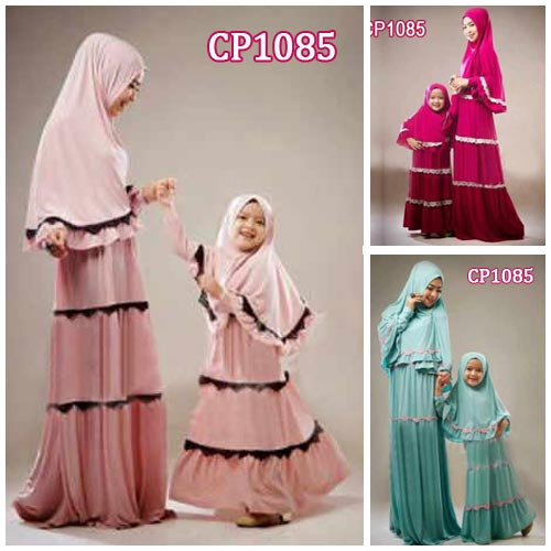 Gamis Couple Zahra Cp1085 Mom And Kid Baju Muslim Modern Butik