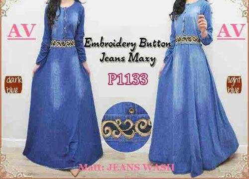 Baju Gamis Modern Jeans Bordir P1133 Busana Wanita