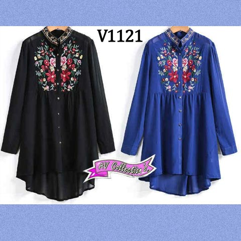 V1121 Blouse Wanita Bordir HiLow