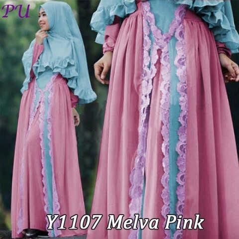 Y1107 gamis berg melva pink