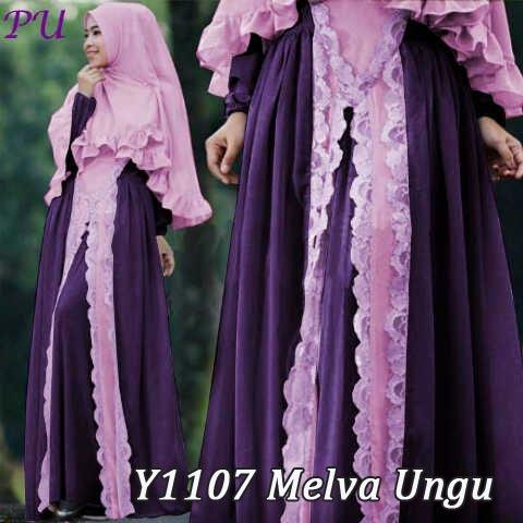 Y1107 gamis bergo melva ungu