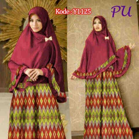 Gamis Bergo Y1125 Songket Rangrang Baju Muslim Batik