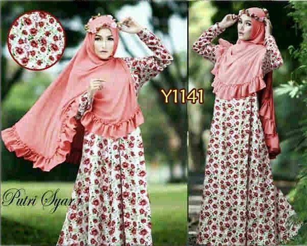 Gamis Bergo Bunga Putri Syari Y1141 Busana Muslim Remaja