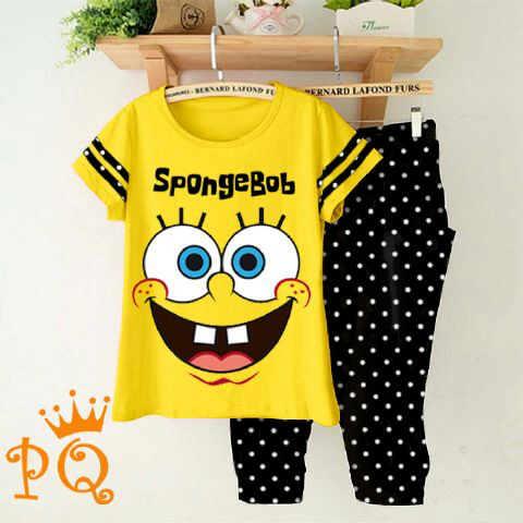 setelan remaja kartun kaos spongebob