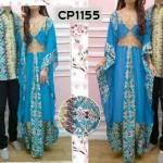 CP1155 gamis couple batik ovj biru
