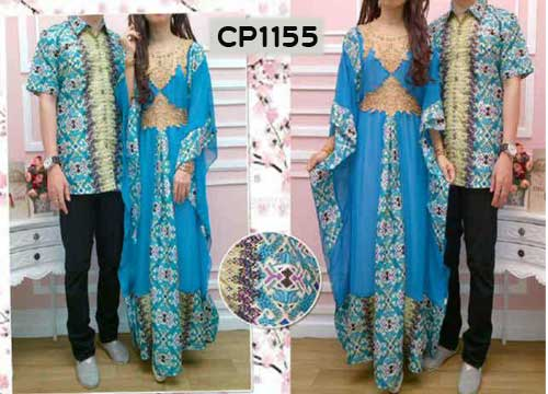 Gamis Couple Batik Biru Cp1155 Baju Muslim Pesta