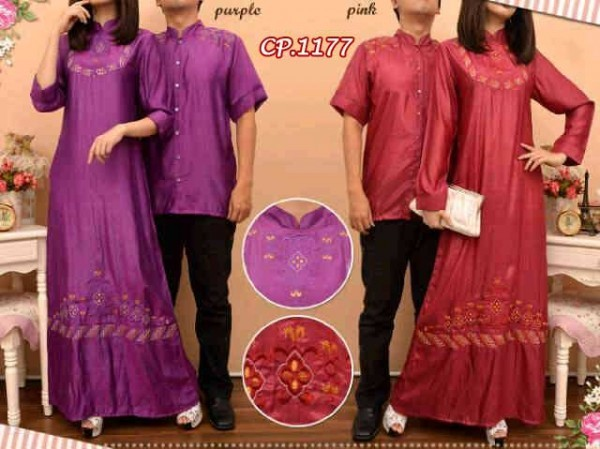 CP1177 gamis couple denim bordir