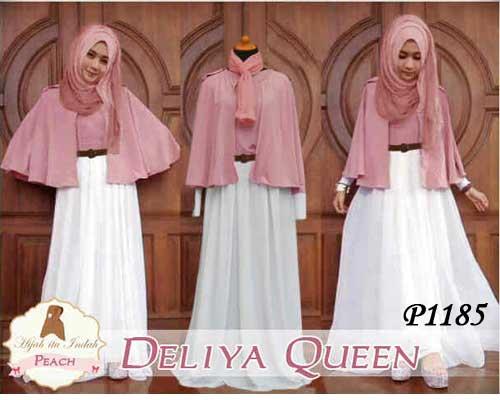 Gamis Modern Deliya Queen P1185 Model Busana Muslim Butik Jingga