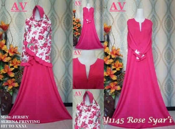 Y1145 Gamis Syari Rose Flowy Pink