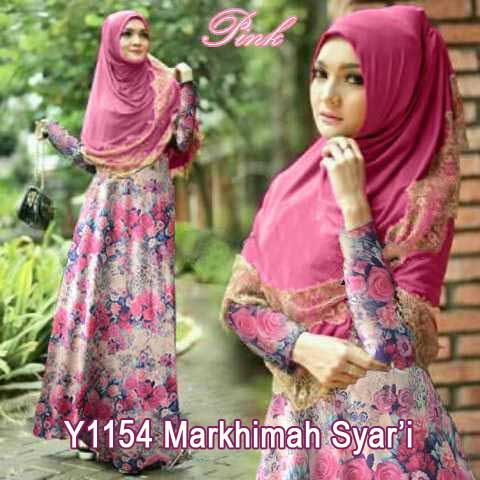Y1154 gamis bergo markhimah pink