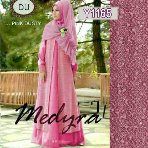 Y1165 gamis modern medyra pink