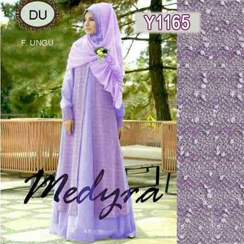 Y1165 gamis modern medyra ungu
