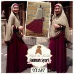 Y1187 Gamis Fatima Syari Maroon