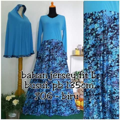 Y706 gamis bergo motif bunga biru