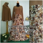 Y706 gamis bergo motif bunga coklat