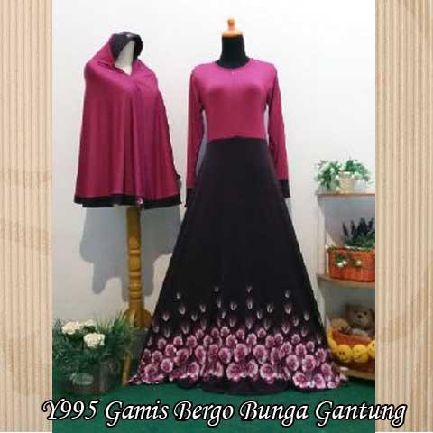 Y995 gamis bergo bunga gantung pink